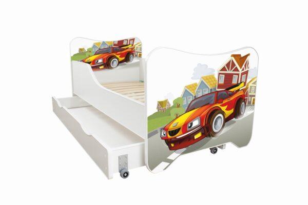 erija HK sa fiokom-Racing Car Dečiji krevet sa dušekom i letvicama