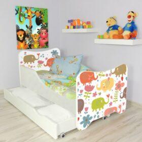 Serija HK sa fiokom-Elephants Dečiji krevet sa dušekom i letvicama