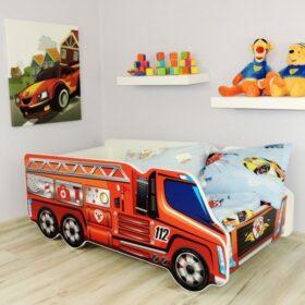 Serija Truck-Fire Truck Dečiji krevet sa dušekom i letvicama 140x70cm