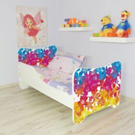 Serija Happy Kitty-Flowers  Dečiji krevet sa dušekom i letvicama