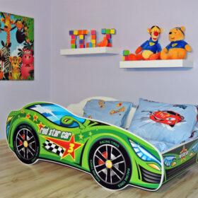 Serija Racing Car-Green  Dečiji krevet sa dušekom i letvicama