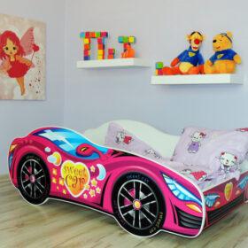 Serija Racing Car-Pink  Dečiji krevet sa dušekom i letvicama