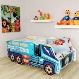 Serija Truck-Police  Dečiji krevet sa dušekom i letvicama 140x70cm