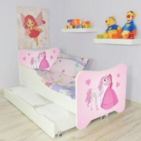 Serija HK sa fiokom-Princess and Horse Dečiji krevet sa dušekom i letvicama