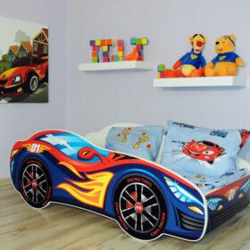 Serija Racing Car-Red Blue  Dečiji krevet sa dušekom i letvicama