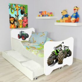Serija HK sa fiokom-Tractors Dečiji krevet sa dušekom i letvicama