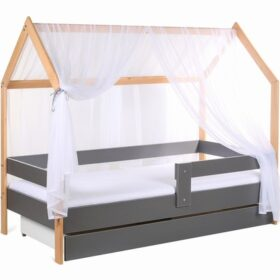 Model Domek krevet kućica sa fiokom i dušekom siva (bukva)