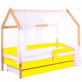 Model Domek krevet kućica sa fiokom i dušekom žuta (bukva)
