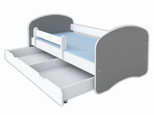 Sivi krevet sa belim fiokama