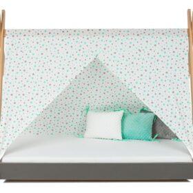 Krevet Bella Luni-Model Tipi sa nadstrešnicom i dušekom-sivi