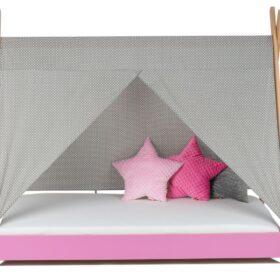 Krevet Bella Luni-Model Tipi sa nadstrešnicom i dušekom-roze