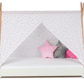 Krevet Bella Luni-Model Tipi sa nadstrešnicom i dušekom-beli
